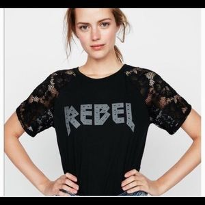 Express studded Rebel tee with lace sleeves